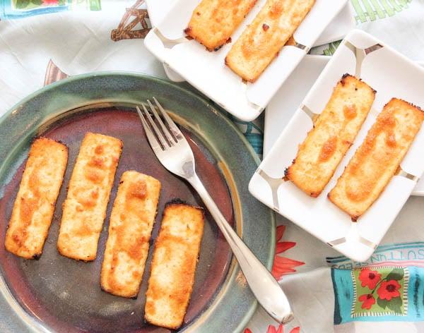 Overhead plated Peanut Sauce Baked Tofu