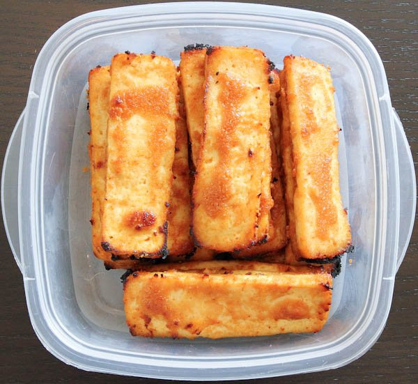 Leftover Peanut Sauce Baked Tofu in clear container
