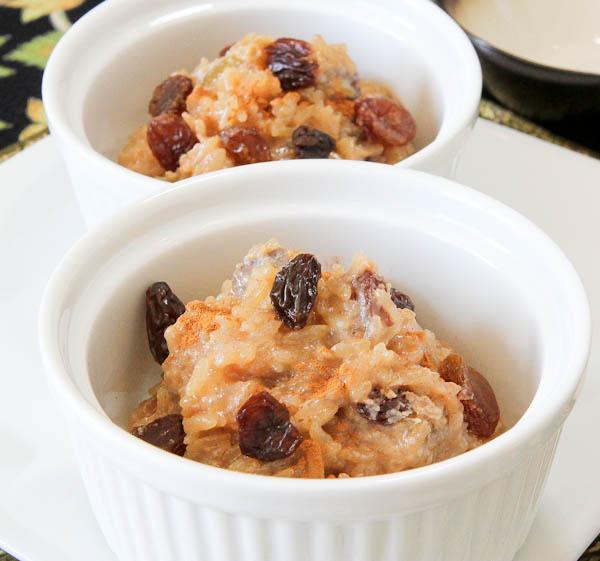 Close up of Cinnamon Raisin Rice Pudding served
