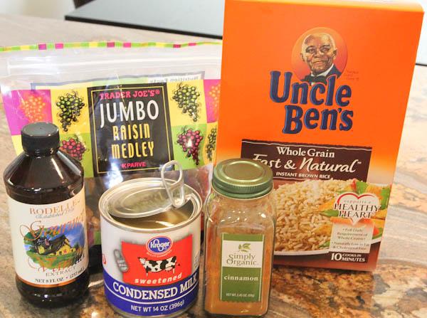 Ingredients needed to make Cinnamon Raisin Rice Pudding