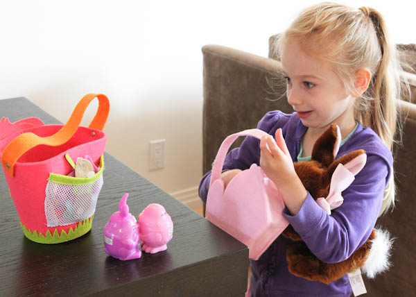 Skylar with easter themed presents