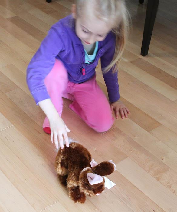 skylar playing with brown bunny plush