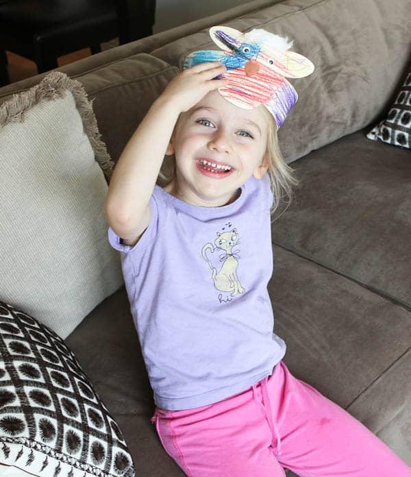 Skylar wearing bunny headband