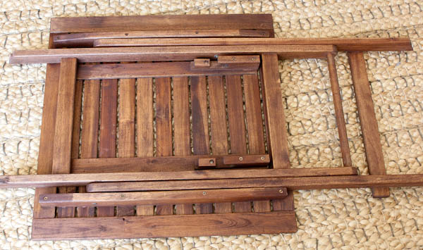 folded teak wood folding table
