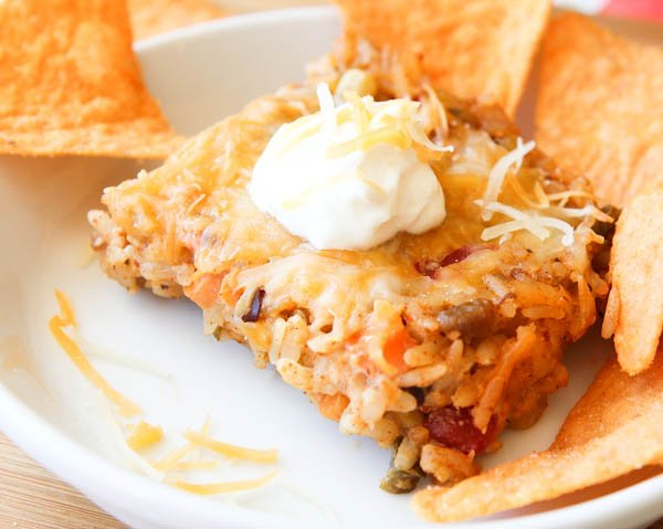 Cheesy Taco Casserole with chips
