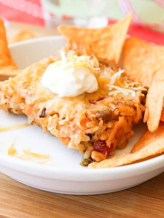 Cheesy Taco Casserole (gluten-free, vegetarian/vegan)