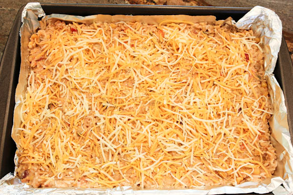 Cheesy casserole in pan