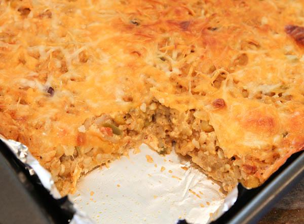 Casserole baked in pan
