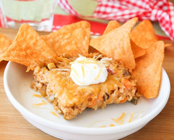 Cheezy Casserole with chips