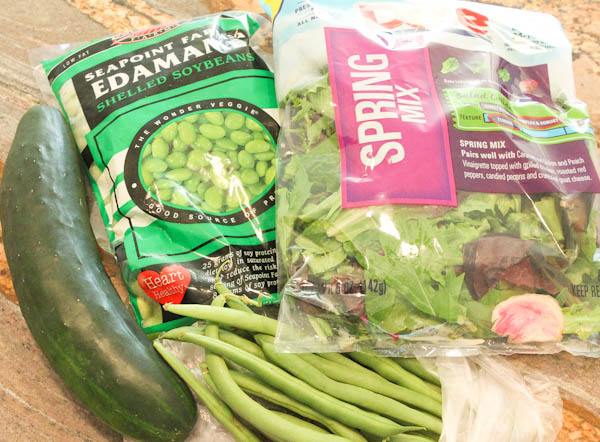 Spring mix, Edamame, zucchini and green beans