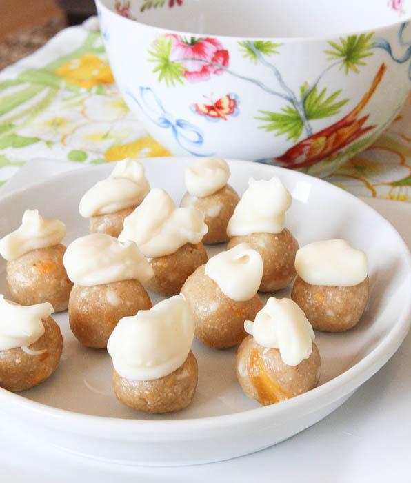 No-Bake White Chocolate & Mango Cookie Dough Bites in white dish