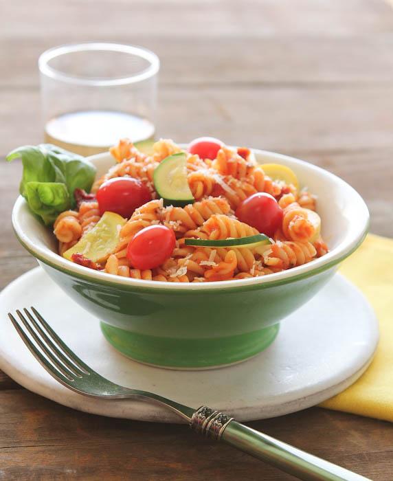 Pasta salad in green bowl