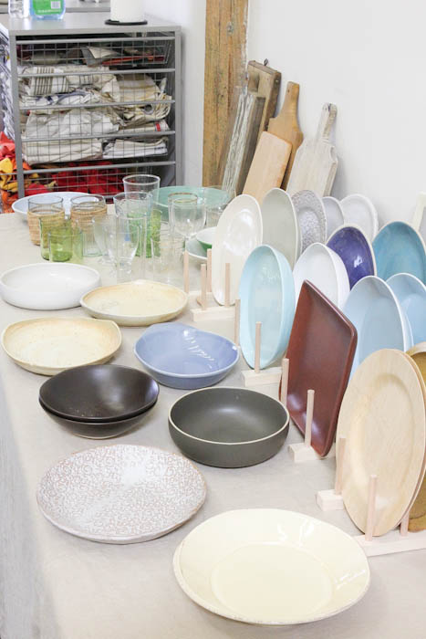 Blue, white, and grey plates and boards