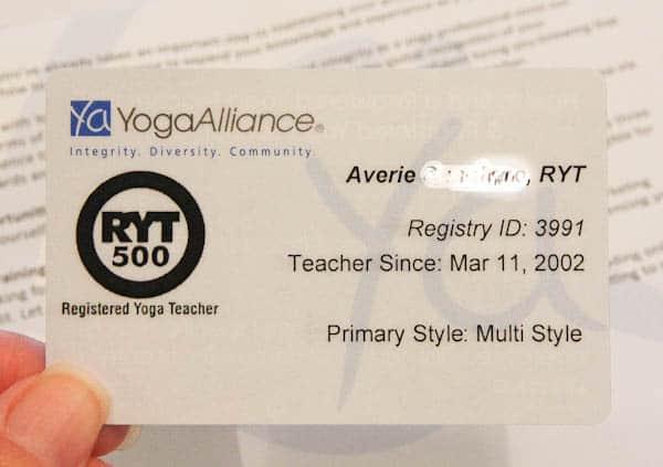 Yoga Alliance Registration Card