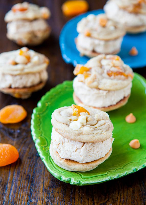 Apricot Butterscotch White Chocolate Peanut Butter-Filled Sandwich Cookies