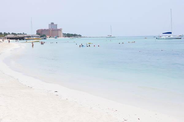 Beach in Aruba with people swimming