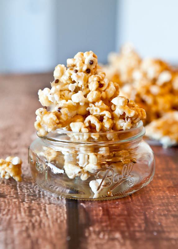 Vanilla Cake Batter and White Chocolate Chip Caramel Corn