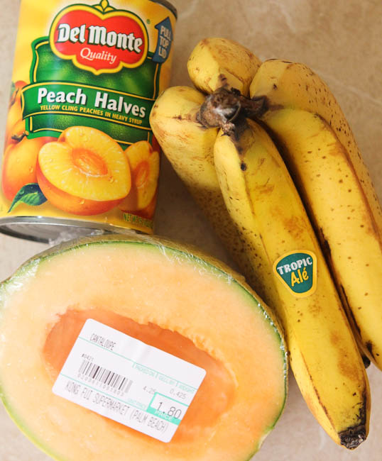 Ingredients for Peach Banana Colada Smoothie