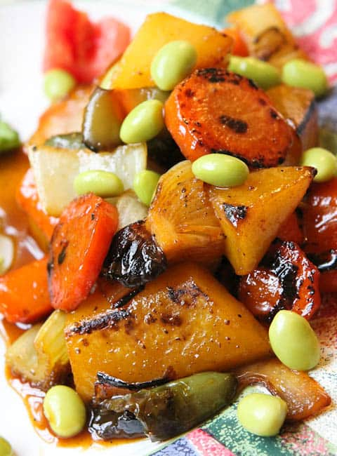 Apple Glazed Vegetable and Edamame Stir Fry (vegan, GF)- Vintage 2011 recipe that's healthy and packed with flavor!