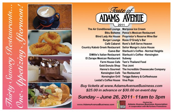 Taste of Adams Avenue Schedule