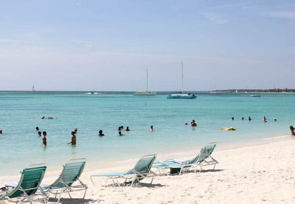 aruba beach with white sand and beach chairs