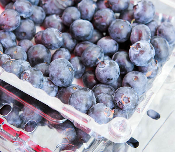 Close up of blueberries in package