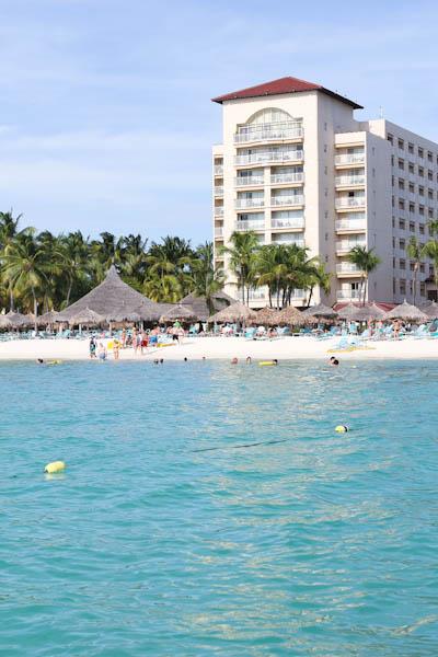 Looking back at aruba beach shore