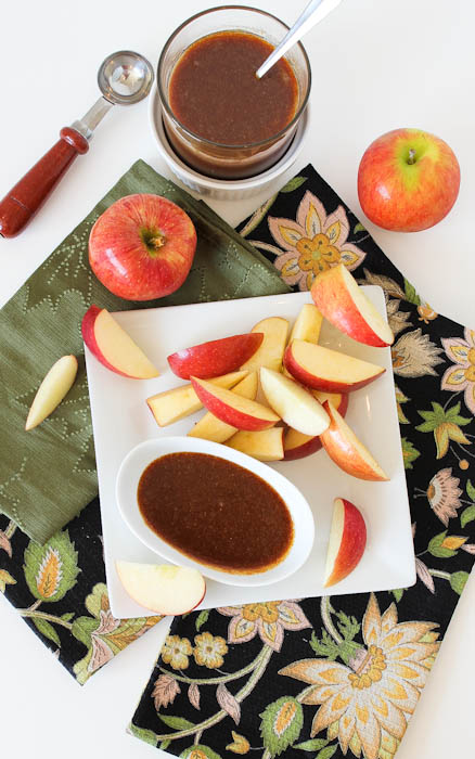 Dark Rum Caramel Sauce with apple slices