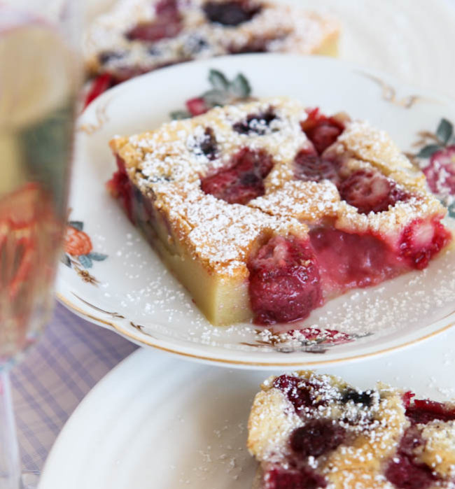 Close up of Mixed Berry Clafoutis showing fruit