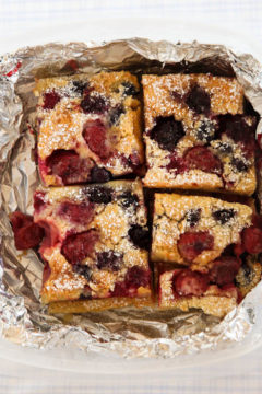Sliced Mixed Berry Clafoutis in tinfoil
