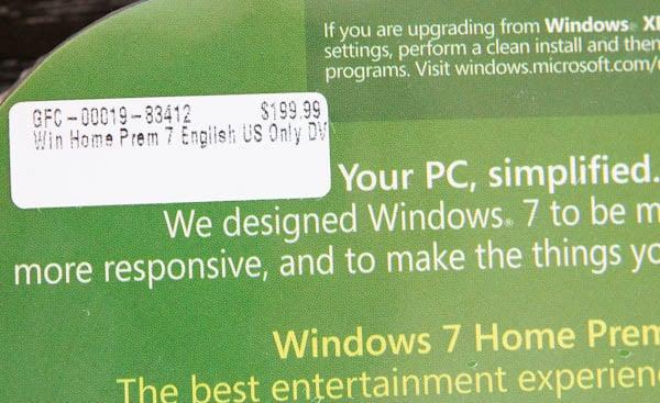 $199.99 prices tag for windows home premium 7
