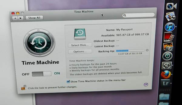 Time Machine tab on computer