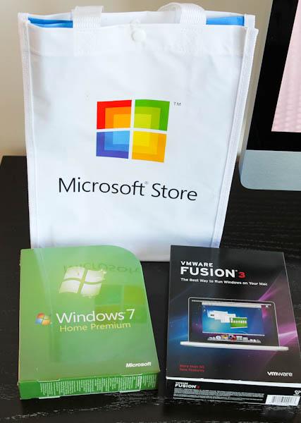 Microsoft Store bag and windows 7 home premium and vmware fusion3