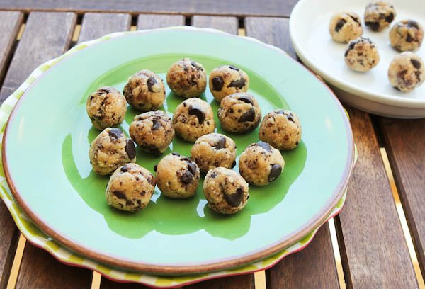 Coconut & Chocolate Chip Cookie Dough Bites on green plate