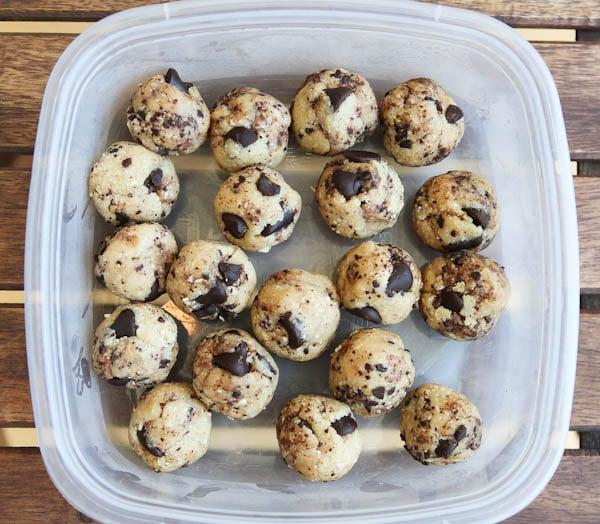 Raw Vegan Chocolate Chip Cookie Dough Balls in tupperware