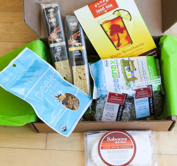 Box of snacks like iced tea or alfajores