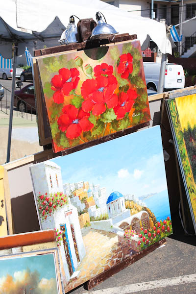 Painting of flowers and greek isles