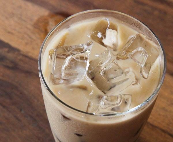 vanilla iced coffee in glass