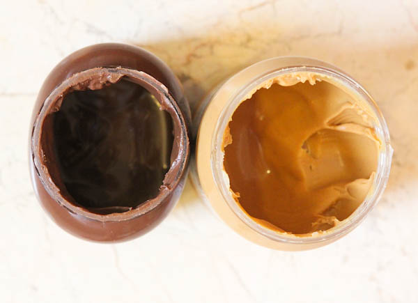 Jars of nutella and peanut butter