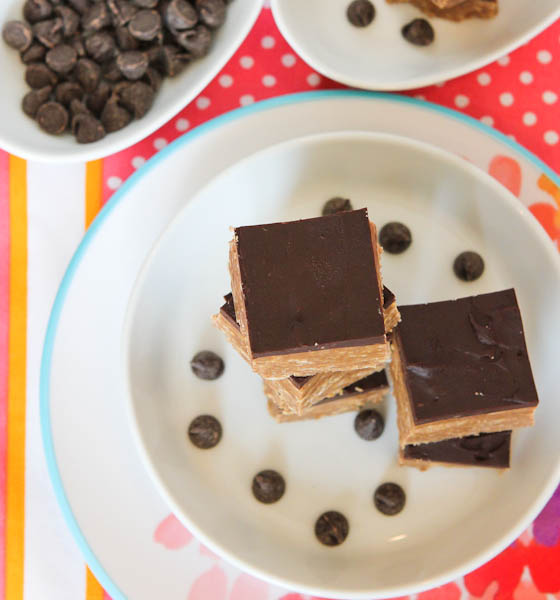 Nutella & Peanut Butter Graham Bars with Chocolate Frosting stacked