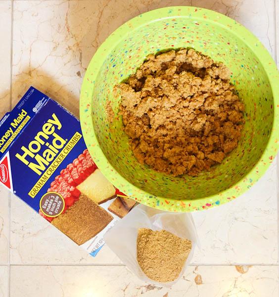 Honey Maid Graham cracker crumbs in green bowl