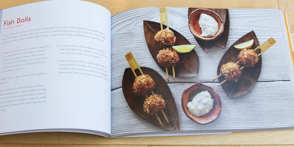 Fish balls on a stick on leaves