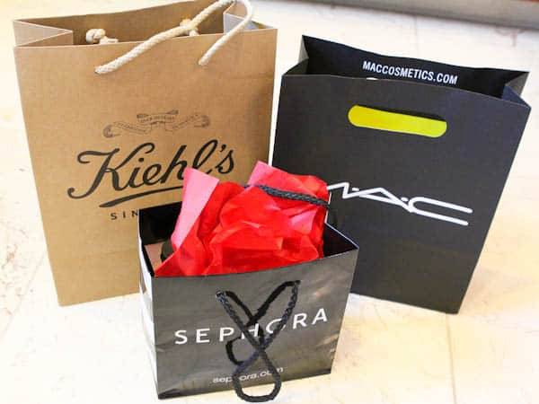 Bags of Kiehl's, MAC, and sephora products