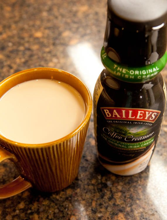 Cup of coffee with baileys coffee creamer in it