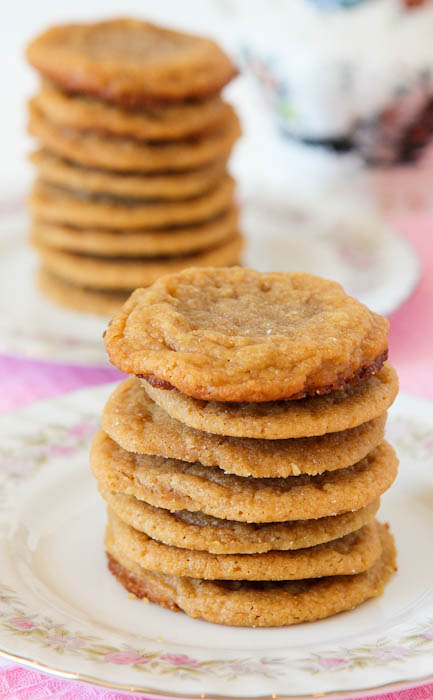 Stacks of peanut butter cookies