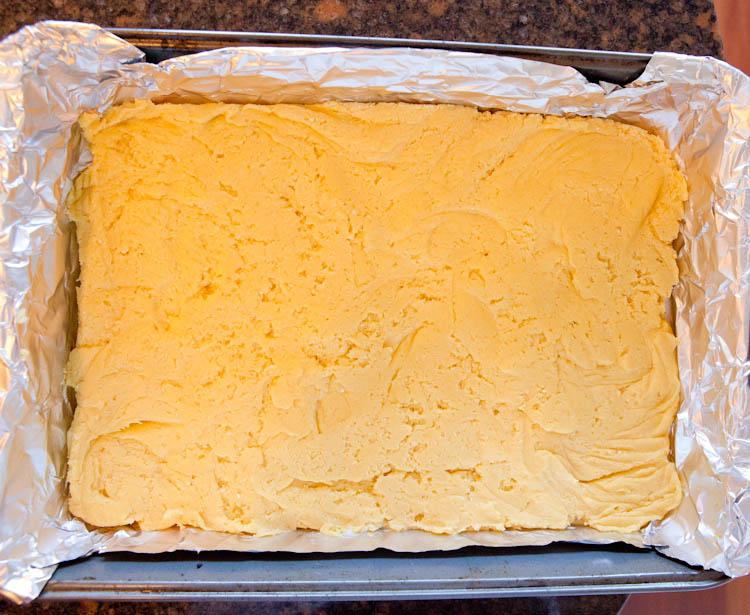 Dough of White Chocolate Vanilla Marshmallow Cake Bars