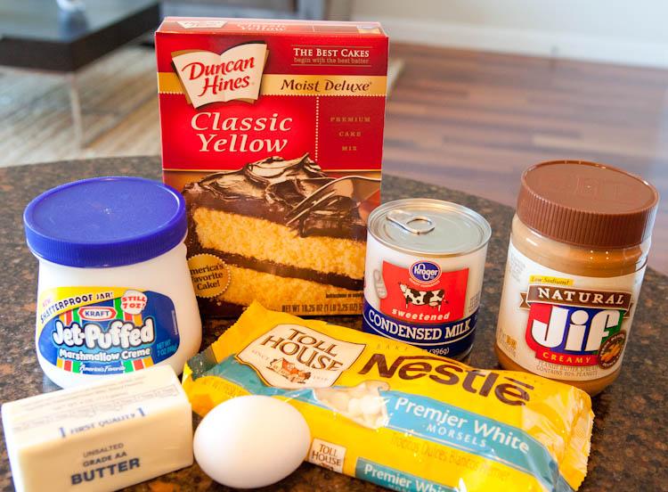 Ingredients for White Chocolate Vanilla Marshmallow Cake Bars