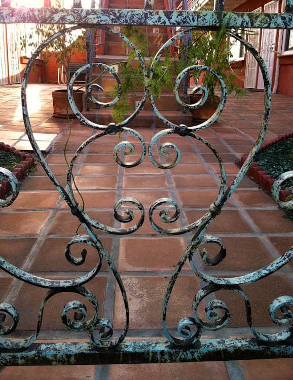 Wrought-iron heart-shaped gate