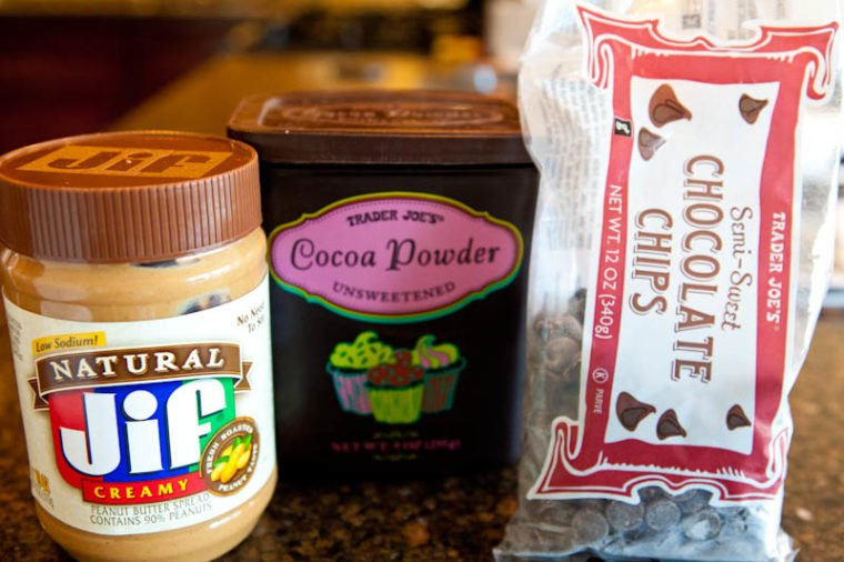 Ingredients for Flourless Chocolate Peanut Butter Chocolate Chip Cookies