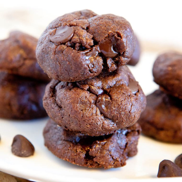 Flourless chocolate peanut butter chocolate chip cookies stacked